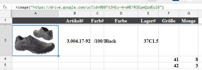 google Tabelle mit Bild in Zelle